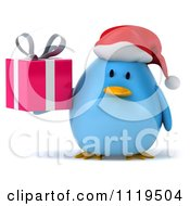 Clipart Of A 3d Christmas Bluebird Wearing A Santa Hat And Holding A Gift 1 Royalty Free CGI Illustration