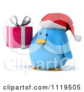 Clipart Of A 3d Christmas Bluebird Wearing A Santa Hat And Holding A Gift 2 Royalty Free CGI Illustration