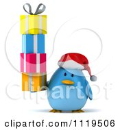 Clipart Of A 3d Christmas Bluebird Wearing A Santa Hat And Holding Gifts Royalty Free CGI Illustration