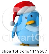 Clipart Of A 3d Christmas Bluebird Wearing A Santa Hat And Holding A Sign 2 Royalty Free CGI Illustration