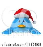 Clipart Of A 3d Christmas Bluebird Wearing A Santa Hat And Holding A Sign 1 Royalty Free CGI Illustration