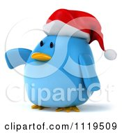 Clipart Of A 3d Christmas Bluebird Wearing A Santa Hat And Pointing Royalty Free CGI Illustration
