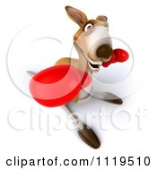 Clipart Of A 3d Aussie Kangaroo Boxer Punching 1 Royalty Free CGI Illustration