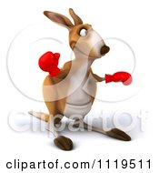 Clipart Of A 3d Aussie Kangaroo Boxer Punching 2 Royalty Free CGI Illustration