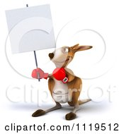 Clipart Of A 3d Aussie Kangaroo Boxer With A Sign 3 Royalty Free CGI Illustration