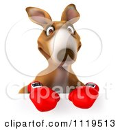 Clipart Of A 3d Aussie Kangaroo Boxer With A Sign 1 Royalty Free CGI Illustration by Julos