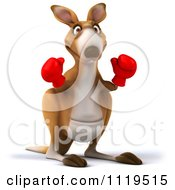 Clipart Of A 3d Aussie Kangaroo Boxer Facing Front Royalty Free CGI Illustration