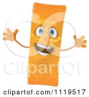 Clipart Of An Excited 3d Frite French Fry Royalty Free CGI Illustration by Julos