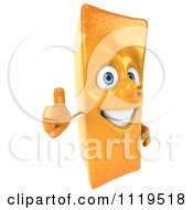Clipart Of A 3d Frite French Fry Holding A Thumb Up Royalty Free CGI Illustration by Julos