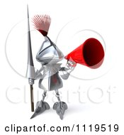 Clipart Of A 3d Knight Announcing Through A Megaphone 4 Royalty Free CGI Illustration