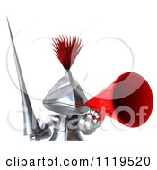 Clipart Of A 3d Knight Announcing Through A Megaphone Over A Sign Royalty Free CGI Illustration
