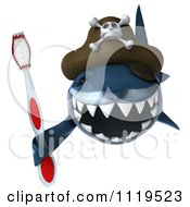 Clipart Of A 3d Pirate Shark Holding A Tooth Brush 3 Royalty Free CGI Illustration
