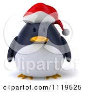 Clipart Of A 3d Christmas Penguin Wearing A Santa Hat Royalty Free CGI Illustration