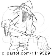 Cartoon Of An Outlined Halloween Witch In A Bikini Royalty Free Vector Clipart