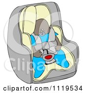 Cartoon Of An African American Baby Boy In A Car Seat Royalty Free Clipart by djart