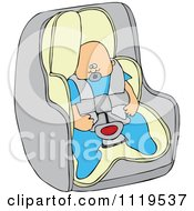 Cartoon Of A Caucasian Baby Boy In A Car Seat Royalty Free Vector Clipart by djart
