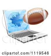 Clipart Of A Football Flying Through And Shattering A 3d Laptop Screen Royalty Free Vector Illustration by AtStockIllustration