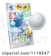 Clipart Of A 3d Golf Ball Flying Through And Breaking A Cell Phone Screen Royalty Free Vector Illustration