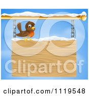 Clipart Of A Happy Robin Bird With Snow On A Wood Sign Against The Sky Royalty Free Vector Illustration