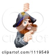 Clipart Of A Friendly Pirate Captain Pointing At A Sign Royalty Free Vector Illustration