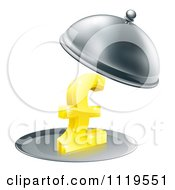 Clipart Of A 3d Gold Pound Sterling Symbol On A Silver Platter Under A Cloche Royalty Free Vector Illustration by AtStockIllustration
