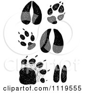 Clipart Of Retro Vintage Black And White Animal Tracks Royalty Free Vector Illustration by Prawny Vintage