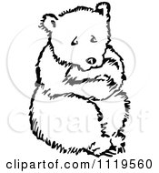 Clipart Of A Retro Vintage Black And White Scared Bear Royalty Free Vector Illustration by Prawny Vintage