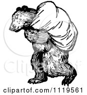 Clipart Of A Retro Vintage Black And White Bear Carrying A Sack Royalty Free Vector Illustration by Prawny Vintage