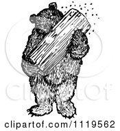 Clipart Of A Retro Vintage Black And White Bear Eating Honey From A Log Royalty Free Vector Illustration by Prawny Vintage