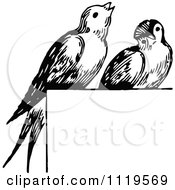 Clipart Of Retro Vintage Black And White Birds Perched On A Sign Royalty Free Vector Illustration