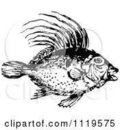 Clipart Of A Retro Vintage Black And White Dory Fish Royalty Free Vector Illustration by Prawny Vintage