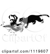 Clipart Of A Retro Vintage Black And White Cat Killing A Chicken Royalty Free Vector Illustration by Prawny Vintage