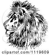 Clipart Of A Retro Vintage Black And White Majestic Lion Head Profile Royalty Free Vector Illustration