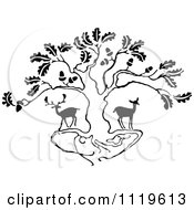 Clipart Of Retro Vintage Black And White Deer Under An Oak Tree Royalty Free Vector Illustration by Prawny Vintage #COLLC1119613-0178