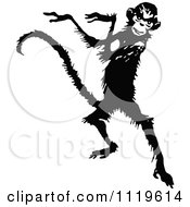 Clipart Of A Retro Vintage Black And White Dancing Monkey Royalty Free Vector Illustration by Prawny Vintage