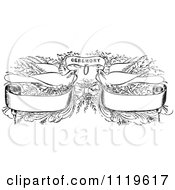 Clipart Of Retro Vintage Black And White Wedding Doves With Banners And Ceremony Text Royalty Free Vector Illustration