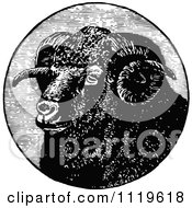 Clipart Of A Retro Vintage Black And White Ram Head In A Circle Royalty Free Vector Illustration by Prawny Vintage