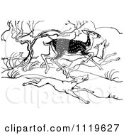 Clipart Of A Retro Vintage Black And White Deer Running From Hunting Dogs Royalty Free Vector Illustration by Prawny Vintage