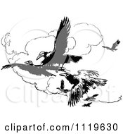 Clipart Of Retro Vintage Black And White Crows Flying Royalty Free Vector Illustration