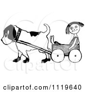Clipart Of A Retro Vintage Black And White Dog Pulling A Doll In A Wagon Royalty Free Vector Illustration by Prawny Vintage