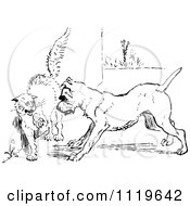 Clipart Of A Retro Vintage Black And White Dog Cornering A Cat Royalty Free Vector Illustration