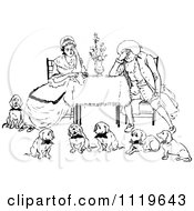 Clipart Of A Retro Vintage Black And White Exhausted Couple With Six Dogs Royalty Free Vector Illustration