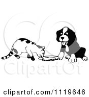 Clipart Of A Retro Vintage Black And White Cat And Dog At A Saucer Royalty Free Vector Illustration