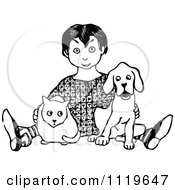 Clipart Of A Retro Vintage Black And White Boy Sitting With A Cat And Dog Royalty Free Vector Illustration