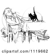 Clipart Of A Retro Vintage Black And White Man Petting A Cat On A Table Royalty Free Vector Illustration