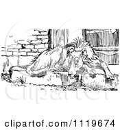 Clipart Of A Retro Vintage Black And White Old Dog Resting On A Door Step Royalty Free Vector Illustration