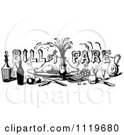 Clipart Of Retro Vintage Black And White Bill Of Fare Text Over Food And Beverages 1 Royalty Free Vector Illustration