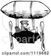 Clipart Of A Retro Vintage Black And White Man Flying An Airship Royalty Free Vector Illustration