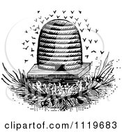 Clipart Of A Retro Vintage Black And White Bees And Hive 2 Royalty Free Vector Illustration by Prawny Vintage #COLLC1119683-0178