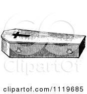 Clipart Of A Retro Vintage Black And White Coffin With A Cross Royalty Free Vector Illustration